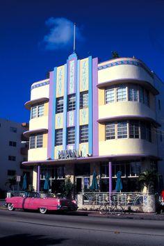 Marlin Hotel in Miami-  Streamline Moderne Art Deco design