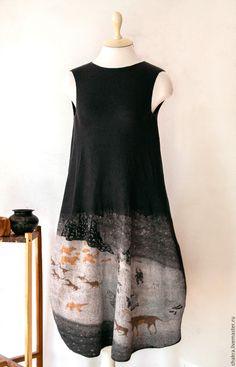 """Купить Платье валяное """"Жители Арктики"""" - темно-серый, рисунок, платье, сарафан, нуновойлок"""