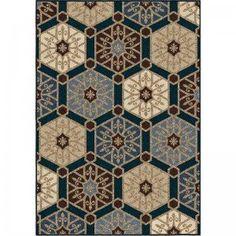 Orian Rugs Indoor/Outdoor Hexagons Pandu Blue Area Rug