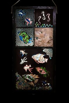 Mosaic Stained Glass Ocean Window, Fish, Sea Horses, Shells, Vintage Window ,Beach Decor, Under the Sea, Ocean Sun Catcher, Large Fish Decor