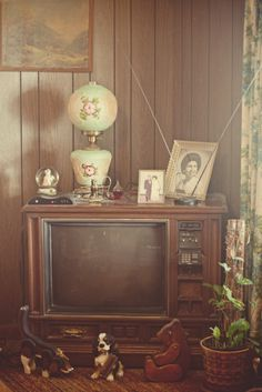 Wood paneling, heavy box TVs that look like a piece of furniture (with clunky dials for VHF and UHF), bunny ear antennas and tchotchkes. :) The good old days!