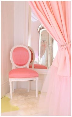 "theredshoescafe: "" …although this is the fitting room at Faire Frou Frou, how wonderful would it be to have ballet tulle curtains, a pretty pink chair with an ornate mirror in your boudoir. Pretty In Pink, Childrens Room, Reason To Breathe, Tulle Curtains, Rose Pastel, Frou Frou, Pink Room, Everything Pink, My New Room"