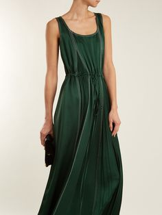 Click here to buy Valentino Contrast-stitch hammered-satin dress at MATCHESFASHION.COM