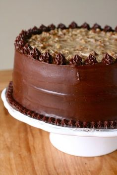 my absolute favorite cake; how can you go wrong with caramel, coconut, pecans and chocolate?