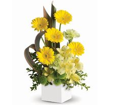 """Buy """"Sunbeam Smiles"""" for $79.95. Send Smiles Across The Miles. This Artful Box Arrangement Of Sunny Yellow Blooms Is Specially Designed To Warm Hearts And Brighten Days!  Flowers Are Subject To Seasonal And Regional Availability. In The Event That Any Of The Flowers Are Unavailable, The Florist Will Substitute With A Similar Flower In The Same Shape, Style And Colour. Stem Count, Packaging And Container May Vary. Standard (pictured Price) : C54"""
