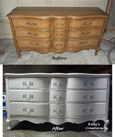 French Provincial dresser painted in swan white with silver drawer handles.  Hand painted by Kelly's Creations  https://www.facebook.com/pages/Kellys-Creations-Refinished-Furniture/524028237619793