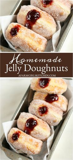 Homemade Jelly Donuts Homemade Jelly Doughnuts filled with raspberry jam is one of my favorite donuts recipe. Light and fluffy homemade donuts coated in sugar and filled with raspberry jam. Recipe For Homemade Jelly, Homemade Donuts, Homemade Breads, Donut Recipes, Brunch Recipes, Baking Recipes, Jam Doughnut Recipe, Recipe Doughnuts, Jam Donut