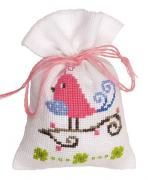Pink Bird Potpourri Bag Cross Stitch Kit