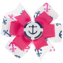 LITTLE LILY NAUTICAL ANCHOR HAIR BOW PNK/NVY