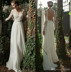2016 Berta Lace Wedding Dresses Flow Chiffon A Line Beach Wedding Dresses Sheer Long Sleeves Backless Appliques Bridal Gowns With Belt A Line Wedding Dresses Strapless Best A Line Wedding Dresses From Allanhu, $160.21| Dhgate.Com