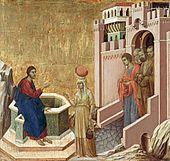 Duccio, Maesta Altarpiece 1308-1311, Christ and the Samaritan Woman.