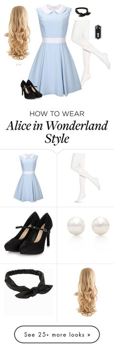 """Alice In Wonderland"" by hanakdudley on Polyvore featuring Hue, NLY Accessories and Tiffany & Co."