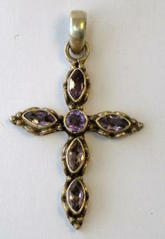 Vintage Hand Made Sterling Amethyst Cross