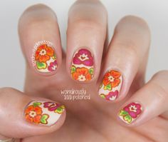 Mani Swap with Mireia of The Nail Art Show - Floral and Feather Nail Art
