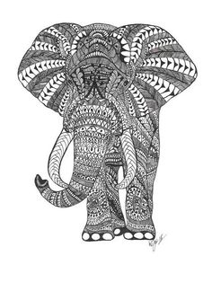 "Adult Coloring Page Swirls and Doodle Design Zentangle Printable Instant Download ""Proud Elephant"" - Includes 10 postcards and 11 envelopes"