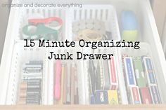 15 Minute Organizing Junk Drawer - Organize and Decorate Everything #31days #15minuteorganizing