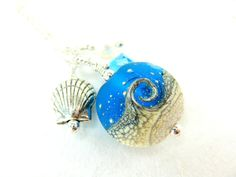 Beach Necklace Ocean Necklace Blue White Wave by GlassRiverJewelry, $38.00