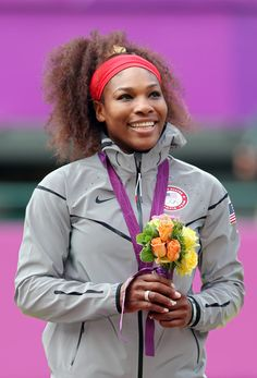 Gold medalist Serena Williams of the United States poses on the podium during the medal ceremony for the GOLD medal match of the Women's Singles Tennis on Day 8 of the London 2012 Olympic Games at the All England Lawn Tennis and Croquet Club on August 4, 2012 in London, England.