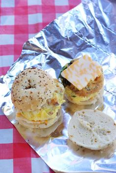 Campfire Breakfast Bagels! Yum, these look so good and make breakfast while camping so simple