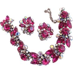 30% off during the Red Tag Sale, now through Sunday 8AM PST!  Vintage Vendome Rare Fuchsia Rhinestone Bracelet and Earring Set