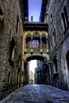 Ancient Bridge, Barcelona, Spain photo by Francisco Diez. In the gothic quarter! Turn left at the next cross-street and you're right where we stay when we visit Barcelona! Places Around The World, Oh The Places You'll Go, Places To Travel, Places To Visit, Around The Worlds, Wonderful Places, Beautiful Places, Magic Places, Spain And Portugal