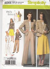 Misses Skirt Pants Jacket Retro Style Simplicity Sewing Pattern 4044 Sz 10-18 FF