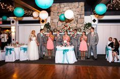 Wedding coral and aqua