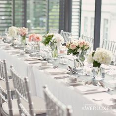 glass and blooms stylish Wedluxe floral & decor Wedding Spot, Luxe Wedding, Wedding 2015, Wedding Colors, Wedding Styles, Wedding Stuff, Glamorous Wedding Flowers, Short Centerpieces, Long Tables