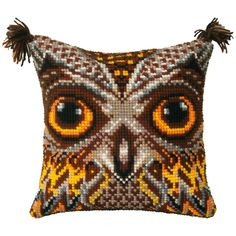 """Items similar to Needlepoint Kit Pillow """"Owl"""", Cross Stitch kit, Embroidery kit Pillow size cm), Printed Canvas Zweigart on Etsy Cross Stitch Owl, Cross Stitch Cushion, Counted Cross Stitch Kits, Cross Stitch Patterns, Needlepoint Pillows, Needlepoint Kits, Ribbon Embroidery, Embroidery Kits, Latch Hook Rugs"""