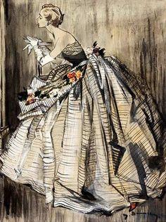 lemon2jul:  ohdarlingdankeschoen:  pinterest.com Evening gown by Lanvin, illustration by Jean Demarchy.  http://www.torildartistes.com/blog-...