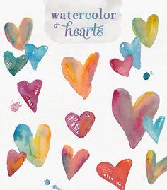 watercolor hearts clip art