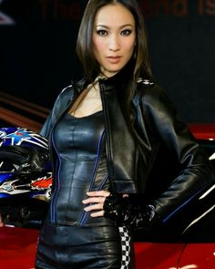 """""""Get on your hands & knees at my feet Mark Shavick! Motard Sexy, Leather Dresses, Leather Outfits, Sexy Latex, Beautiful Asian Women, Leggings, Leather Fashion, Women's Fashion Dresses, Sexy Outfits"""