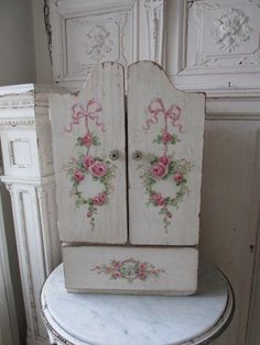 OMG ORIGINAL Christie REPASY PAINTING Vintage CHILD'S ARMOIRE Bows Wreaths ROSES