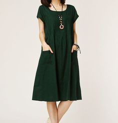 Dark green linen dress maxi dress short by originalstyleshop, $59.00