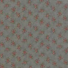 coupon de tissu patchwork MODA petits bouquets sur fond bleu antique 45x55cm