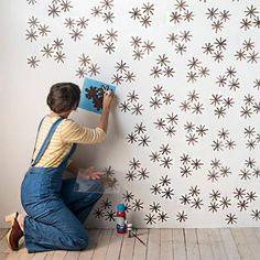 DIY Faça você mesmo Como fazer papel de parede com stêncil