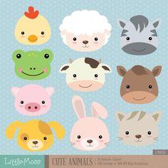Cute Animals Digital Clipart by LittleMoss on Etsy Baby Farm Animals, Woodland Animals, Felt Animals, Cute Animals, Animal Heads, Animal Faces, Clipart Photo, Party Banner, Cute Animal Clipart
