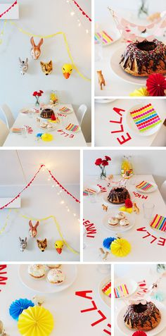 Colorful birthday table in Children's parties for kids and babies as events and celebrations, anniversaries and birthdays