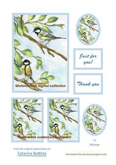 Tit Carte numérique. Mésange. Papier imprimable. Carte de vœux, Carte postale, Ephemera, Junk Journal, Collage, Scrapbooking, Découplage Make Your Own Card, Scrapbooking, Art Projects, My Etsy Shop, Watercolor, The Originals, Junk Journal, Collage, Birds