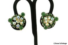 D & E Juliana Earrings Light Emerald Green and by JessesVintage