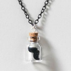 Mustache in a Bottle Necklace