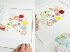 DIY scrapbook art with wedding cards from guests