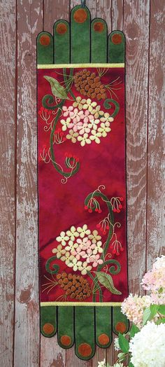 Winter Bouquet Wool Applique Runner by the Wooly Lady