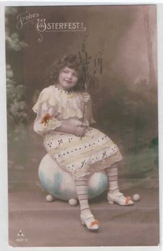 RPPC POSTCARD: EDWARDIAN EASTER, GIRL WITH BRANCH ON EGG, HAND TINT SHOES BOWS / / RPPC / Vintage cute girl / Do you know the name of this mysterious unknown child ? PLEASE TELL ME !!...Vintage postcard ca 1910 of my favorite model / This child is such a mystery!!!. She was often a model for the German photographer Henry ( Heinrich) Traut / Carte postales anciennes enfants - CPA fantaisie enfant - jeune fille.