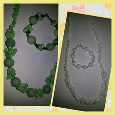 Satu set Kalung dan gelang batu warna hijau dan putih asli dr kalimantan..  55rb  Free ongkir Jatim