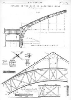 The problem of the Galerie des machines at the 1889 Paris International Exposition: iron or steel? image from Engineering , The Paris Exh. Bridge Structure, Steel Structure Buildings, Truss Structure, Steel Trusses, Roof Trusses, Steel Bridge, Bridge Construction, Steel Detail, Shop Buildings