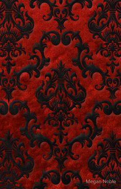 'Red Velvet Damask' iPhone Case by Megan Noble Red And Black Wallpaper, Damask Wallpaper, Wallpaper Iphone Cute, Cellphone Wallpaper, Pattern Wallpaper, Wallpaper Backgrounds, Wallpaper Designs, Blue Wallpapers, Velvet Wallpaper
