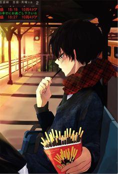 Random anime guy with Pocky. Mmmm Pocky...