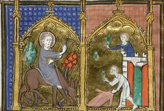 An illumination from a French psalter and hours, c.1300, depicting Christ entering Jerusalem on a donkey, his hand raised in the symbolic gesture of blessing; two men are seen waving (approximations of) palm branches, which were a symbol of victory in ancient Rome, later becoming a Christian symbol of victory over death; (Yates Thompson 15   f. 17v). (British Library)