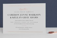 """""""Lustre"""" - Classical, Formal Foil-pressed Wedding Invitations in Gold by Jessica Williams."""